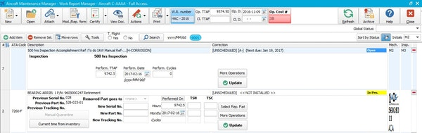 Aircraft Maintenance Systems work report manager screenshot