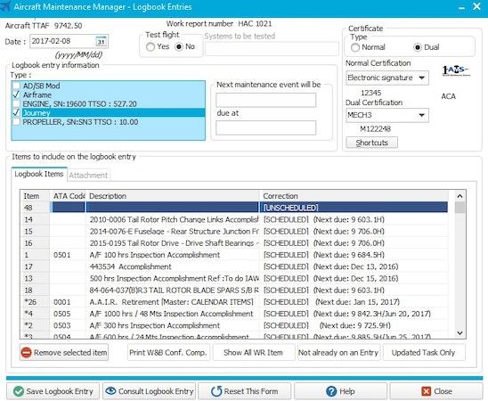 Aircraft Maintenance Systems logbook entries screenshot