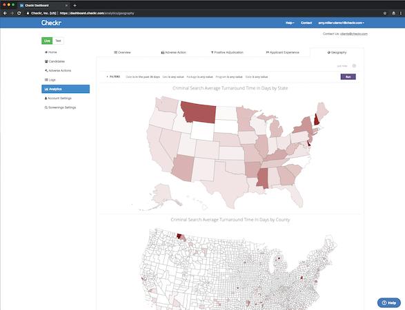 Checkr geographical analysis screenshot
