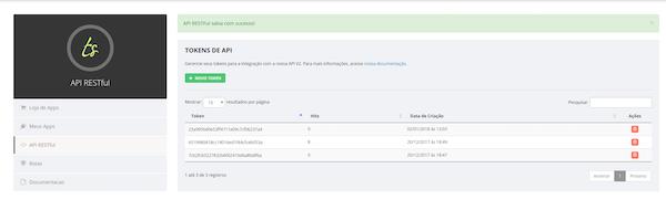 Tracksale RESTful API screenshot