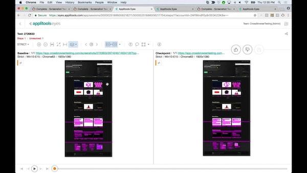 Applitools testing dashboard screenshot