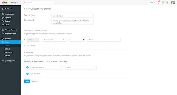 Zoho Expense custom approval screenshot.