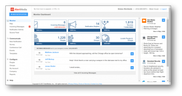 AlertMedia dashboard
