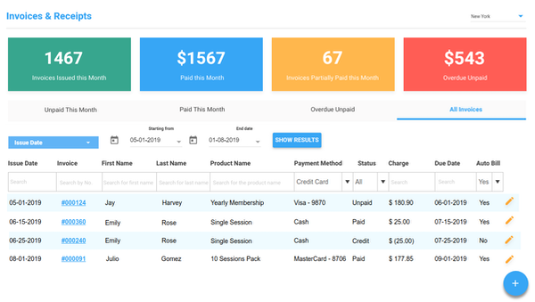 Arbox invoicing screenshot