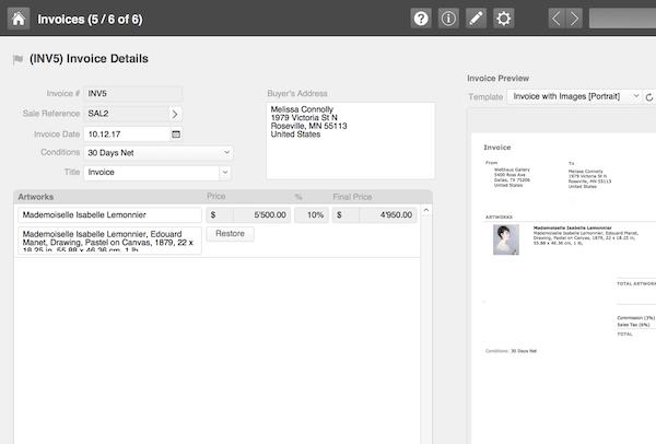 ArtVault Pro invoice details