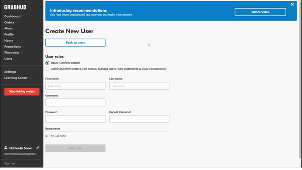 Grubhub create new users