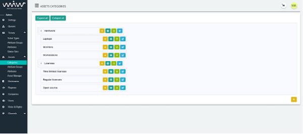 Mint Service Desk asset categories page