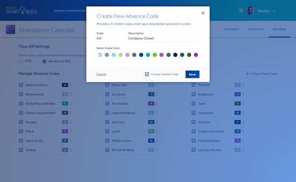 Attendance Calendar Smart App absence code creation