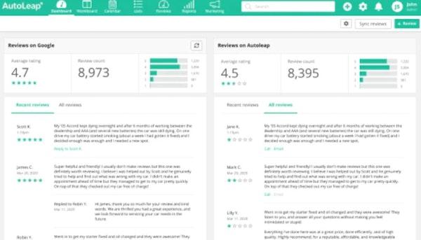 AutoLeap manage reviews