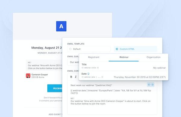 Livestorm email invitations