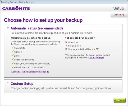 Automatic backup setup