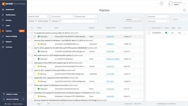 Avast Business Patch Management patch status