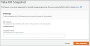 Amazon RDS database snapshot