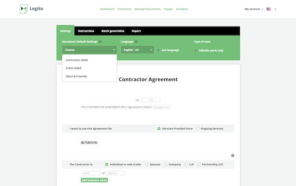 Legito contractor agreement