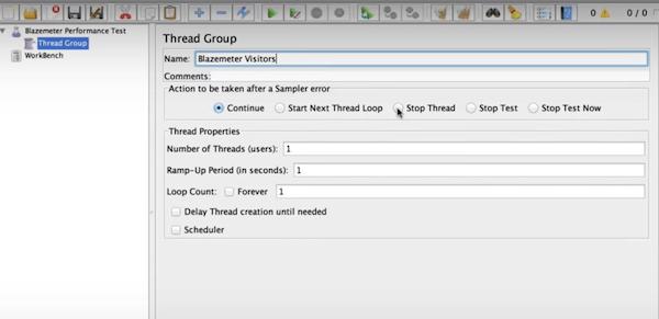 BlazeMeter software thread group