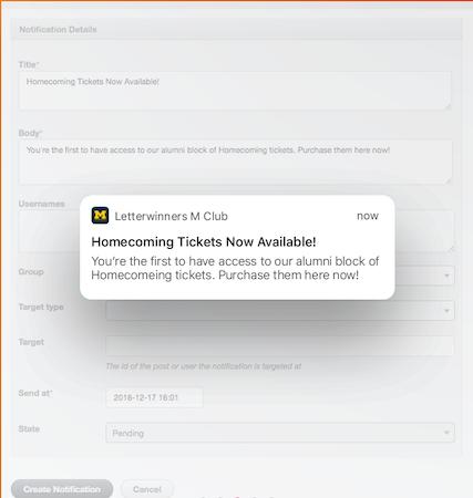 Honeycommb notification settings