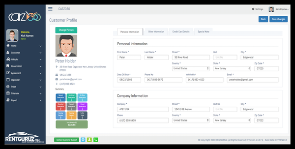 RentGuruz customer profile