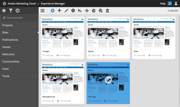 Adobe Experience Manager dashboard