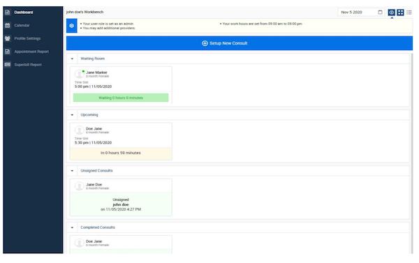 blueTeleMed dashboard