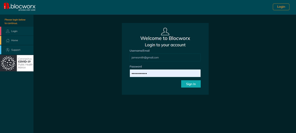 Blocworx login page