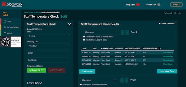 Blocworx staff temperature check