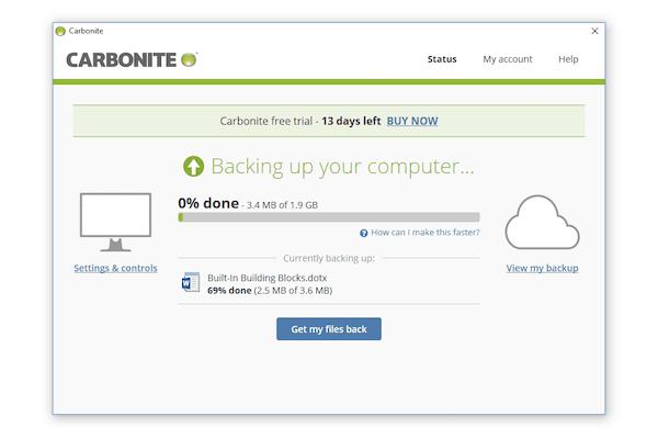 Backup status tab