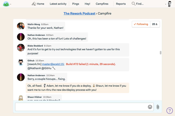 BaseCamp Real-Time Team Chat