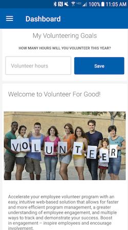Blackbaud Employee Volunteering individual goals