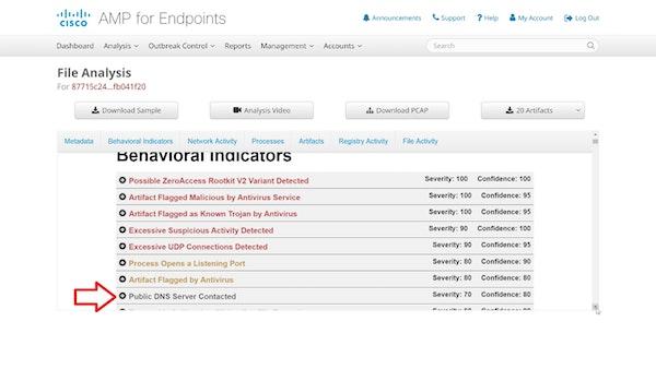 Cisco AMP behavioral indicator screenshot