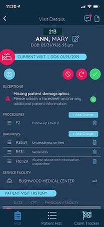Claimocity patient visit details
