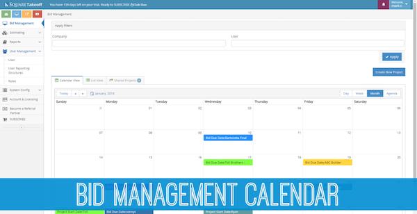 Square Takeoff bid management calendar screenshot