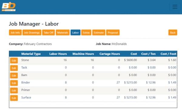 BidDesign job manager labor