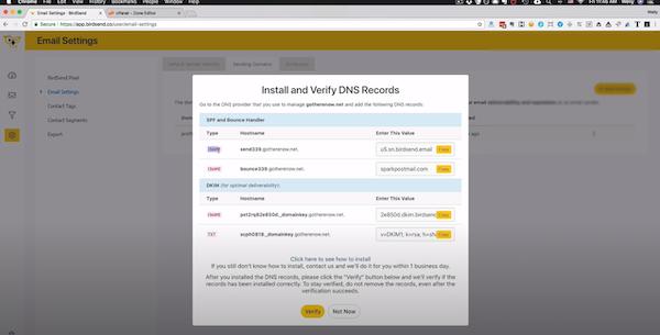 BirdSend verify DNS records