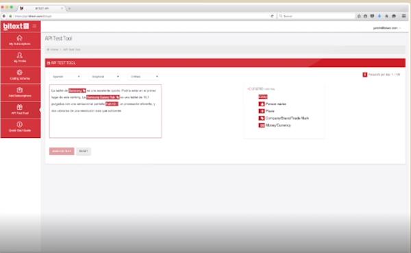 bitext API test tool