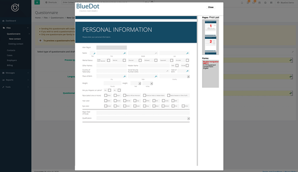 BlueDot add personal information