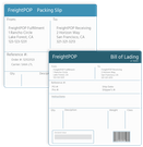 FreightPOP printing bills of lading and shipping labels screenshot