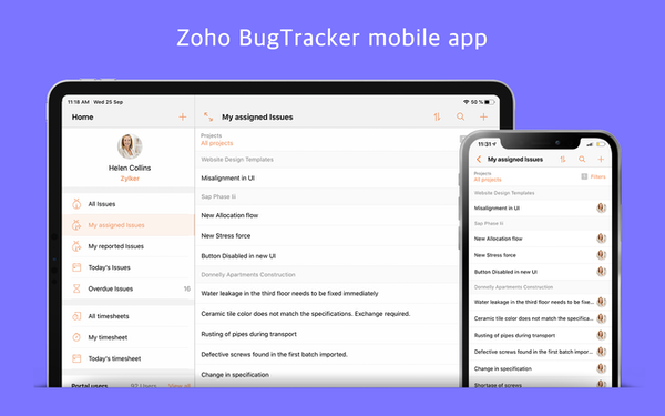 Zoho BugTracker mobile application