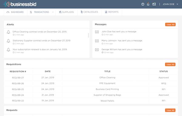 BusinessBid dashboard
