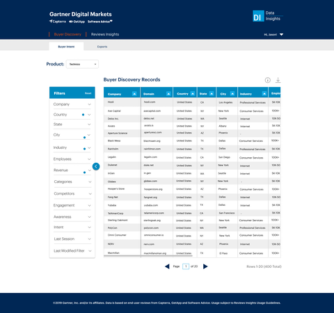 Buyer Discovery - buyer intent screen