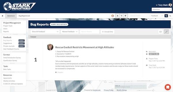 Centercode dashboard screenshot