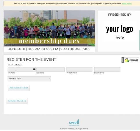 Swell Fundraising event registration
