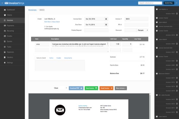 Invoice Ninja invoices
