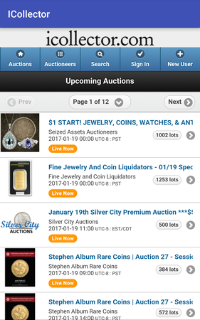 Live Auction Software upcoming auctions