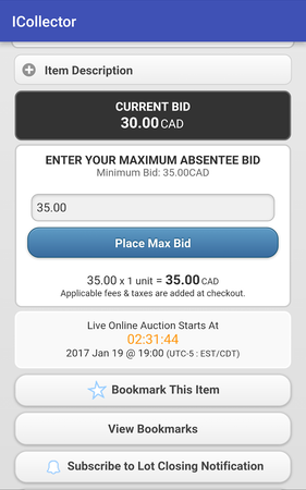 Live Auction Software current bids
