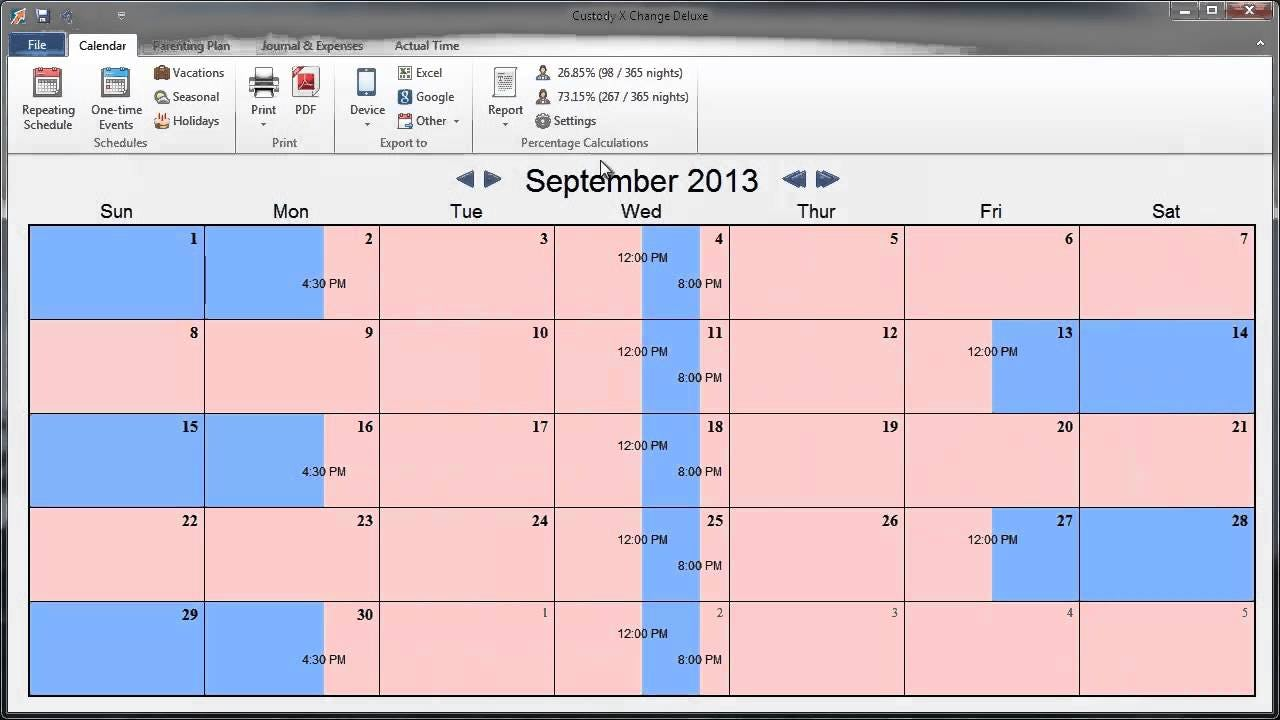 Custody X Change - Custody X Change calendar screenshot