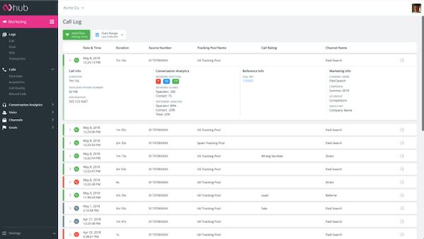 Infinity Call Tracking call log screenshot