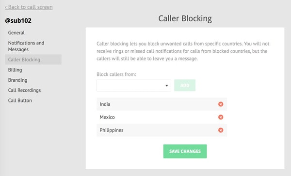 Gruveo call blocking