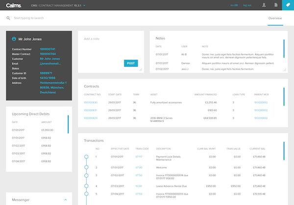 CALMS contract management screenshot