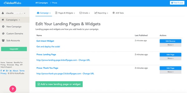 KickoffLabs landing pages and widgets
