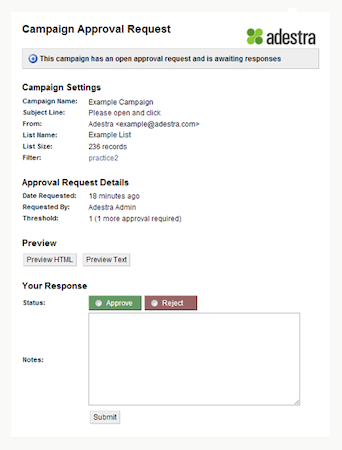 Campaign approval form